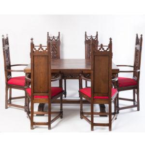 1.神聖な雰囲気を放つアームチェア6脚によるダイニングテーブルセット