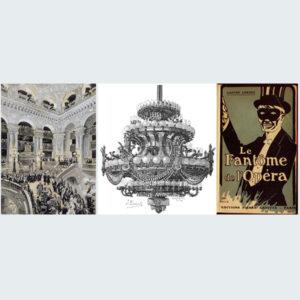 左:オペラ座こけら落としの日の様子。<br /> 中央:ガルニエデザインのシャンデリア オペラ座(通称ガルニエ宮)<br /> 右:オペラ座の怪人ポスター