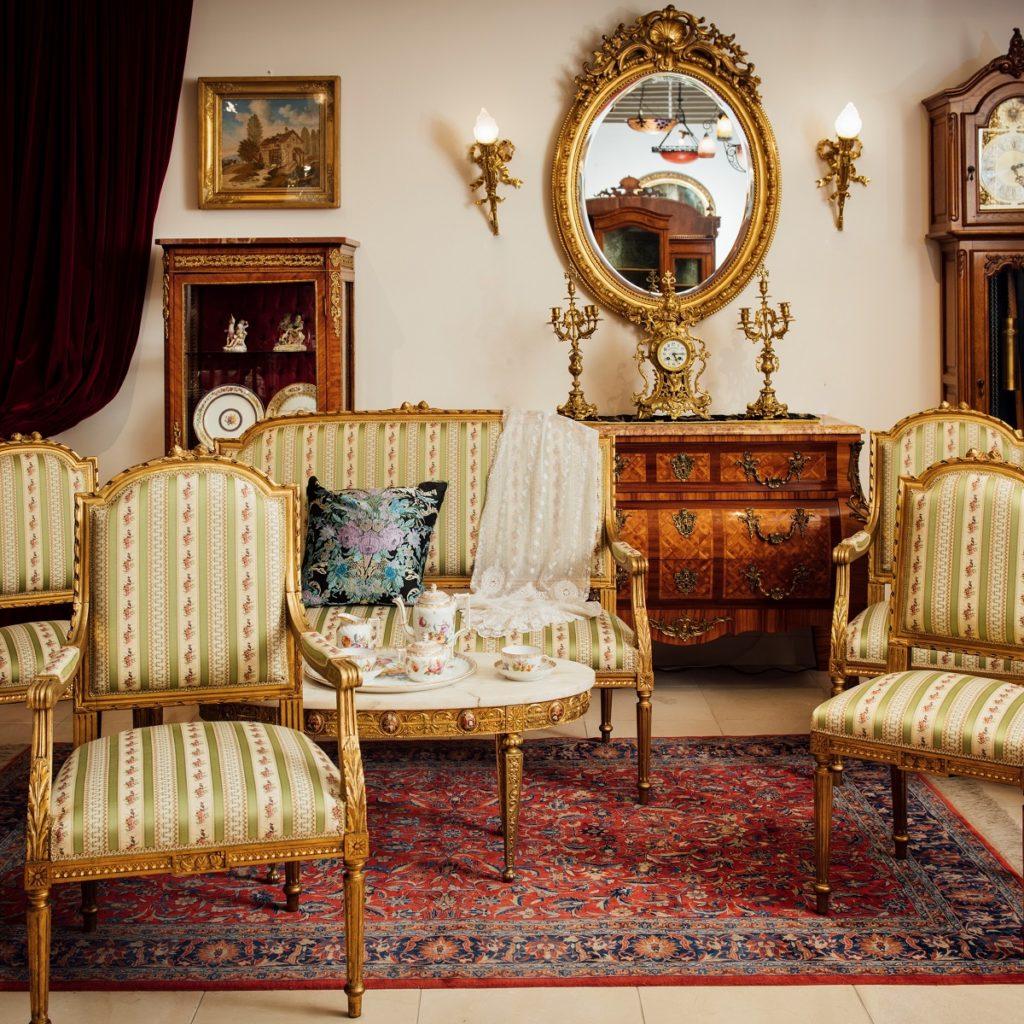ナポレオンⅢ世 ルイ16世様式金箔サロンスイート(5点セット)<br /> フランス 1870年代 金箔貼木